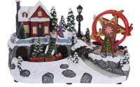 [Vianočné mestečko so svetielkami a pohyblivým vláčikom]