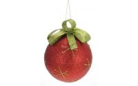 [Veľká vianočná guľa s vločkou a mašľou 12 cm]