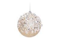 [Zlatá vianočná guľa s kamienkami 7,5 cm ]