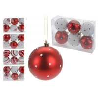 [Červeno - biele vianočné gule 6 ks x 60 mm]