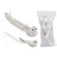 [Biely vtáčik na štipci - sada 2 ks]