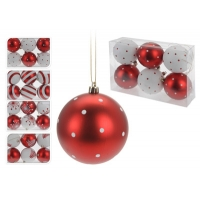[Červeno - biele vianočné gule 6 ks x 80 mm]