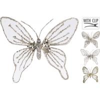 [Dekoračný motýľ na štipci zlatý 15 cm - rôzne druhy]