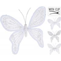 [Dekoračný motýľ na štipci biely 15 cm - rôzne druhy]