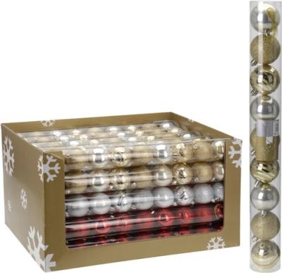 Vianočné gule 9 ks x 60 mm - rôzne farby