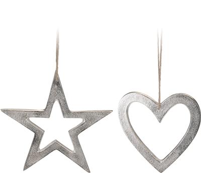 Veľká kovová závesná dekorácia 16 cm- 2 druhy