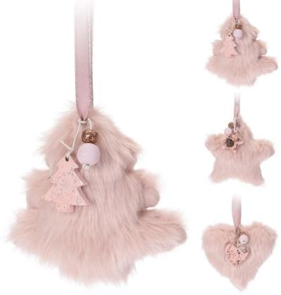 Baby ružová plyšová vianočná dekorácia - 3 druhy