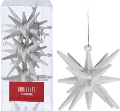 Sada 3 ks bielych závesných vianočných hviezd