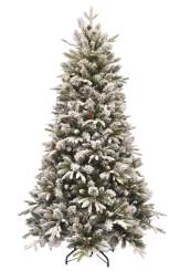 [Vianočný stromček EMERALD ROSEMARY so šiškami - zasnežený z mäkkého 3D ihličia]